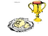 Communion plate with loaf and chalice